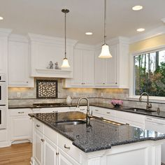 kitchens with white cabinets and granite countertops | White Kitchen ...