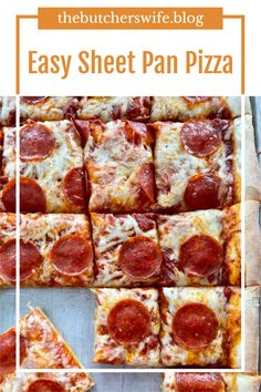 Easy Sheet Pan Pizza made with homemade pizza dough! Bagel Bites, Make Your Own Pizza, Homemade Bagels, Jelly Roll Pan, Fast Easy Meals, Game Day Food, Pizza Dough, Yummy Snacks, Sheet Pan