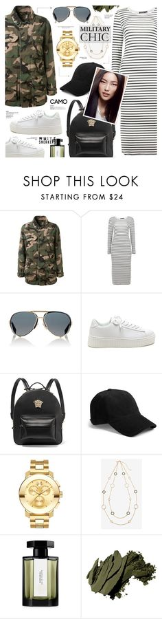 """""""Street Style - Military Chic"""" by anyasdesigns ❤ liked on Polyvore featuring Gianvito Rossi, Boohoo, Givenchy, Versace, rag & bone, TC Fine Intimates, Movado, White House Black Market, L'Artisan Parfumeur and Bobbi Brown Cosmetics"""