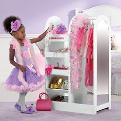Girl's Dress Up Storage Center. Great way to keep all the dress up stuff organized!