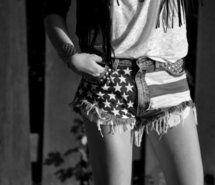 I love american flag shorts. They're just so different and if you pair them with a white tank and a cardigan like in the picture you have an outfit that everyone wont be able to look away from! (in a good way :p)