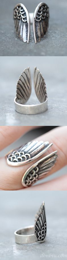 Angel Wings hand carved 926 Sterling Silver ring on donbiu.com