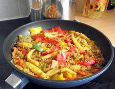 bunte vegane Linsenpfanne mit Paprika und Baby-Maiskolben - vegane Rezepte auf Laubfresser