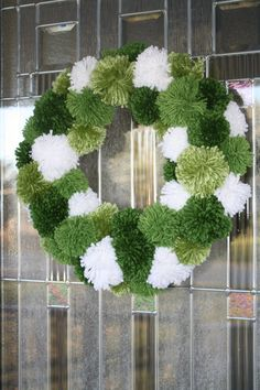 Luck of the Leprechaun Yarn Pom Pom Wreath by DrewskyAndDillster