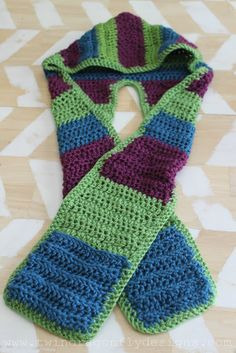 Dragonfly Designs: Crochet Hooded Scarf Pattern with pockets..only adult sized