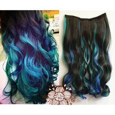 Dark Brown Mixed With Green and Royal Blue Three Colors Ombre... ($11) ❤ liked on Polyvore featuring beauty products, haircare, hair, hair styles, bath & beauty, dark olive, hair care, hair extensions and curly hair care