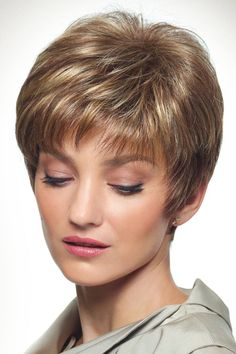 Take a look at this short layered wig by Revlon Wigs. Cambria by Revlon Wigs is a soft pixie cut style with wisp bangs and short layers for versatility. Short Hair Over 60, Short Thin Hair, Short Hair With Layers, Short Hair Cuts For Women, Short Hairstyles For Women, Teenage Hairstyles, Short Pixie Haircuts, Cool Haircuts, Haircut For Older Women