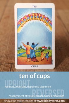 Ten of Cups #tarotcardmeaning learn more atwww.biddytarot.co...