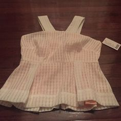 Maeve peplum top Adorable, off white peplum top with a peach lining underneath.  Never worn!  Perfect condition. Anthropologie Tops Tank Tops
