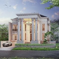 I like the attached garage at slightly lower level. Mansion Interior, Dream House Interior, Bungalow House Design, Duplex House, Classic House Design, Modern House Design, Beautiful House Plans, Modern Mansion, Classic Architecture