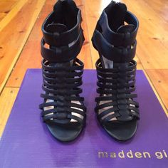 Madden Girl Debbra Heels Black synthetic leather...size 7...4 inch heels. comes with original box **Excellent condition** Madden Girl Shoes Heels