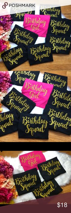 Birthday girl or birthday squad matching shirts This listing is for 1 T-shirt (select more than 1 quantity to receive the amount you need) Leave a co. Birthday Presents For Him, Cute Birthday Gift, Happy 21st Birthday, Girl Birthday, Husband Birthday, Birthday Month, 16th Birthday Outfit, 18th Birthday Party Themes, Sleepover Birthday Parties