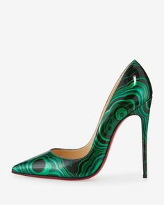 "Christian Louboutin marbled patent leather pump. 4.8"" covered heel. Pointed toe. Low-dipped collar. Tonal topstitching. Signature red leather outsole. Slip-on style. ""So Kate"" is made in Italy."