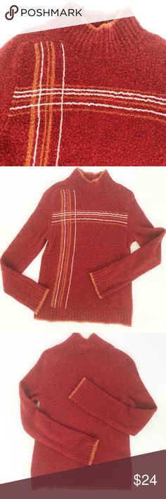 Patagonia Water Girl Sweater Sz Small Vintage feel Top quality Patagonia styling Reddish rust color with coordinating lines Wool/acrylic/nylon blend knit fabric Comfy and warm Stretchy 16 in pit to pit laid flat Sweater is 24 inches long Freshly washed Smoke/pet free 101665 Patagonia Sweaters Cowl & Turtlenecks