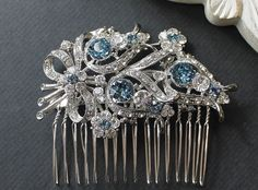 Crystal Bouquet Bridal Comb Colored Crystal Comb by JamJewels1, $56.00