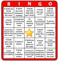 Book Bingo! Challenge yourself to read more, to read more widely and to have fun doing it all!