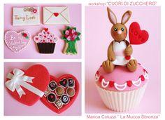 """San valentino, cupcakes e biscotti decorati by Marica Coluzzi """"La mucca Sbronza"""" per Corso Cake Design"""