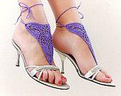 Barefoot sandles, Barefoot sandals, Purple  crochet sandals, foot jewelry, leg decoration, hippie sandals