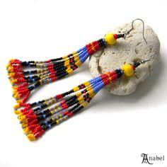 Long beaded tassel earrings - colorful ethnic seed bead earrings