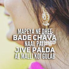 girls, india, and punjabi image Girly Attitude Quotes, Girly Quotes, Romantic Quotes, Happy Quotes, Fonts Quotes, True Quotes, Qoutes, Punjabi Captions, Caption For Girls