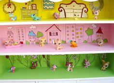 Scene painted bookshelf for play