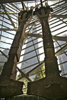 This June 2013 file photo shows perimeter box columns from the World Trade… 911 Memorial, Memorial Museum, Wtc 9 11, World Trade Center Nyc, 11 September 2001, 911 Never Forget, New York Washington, North Tower, Museum Displays