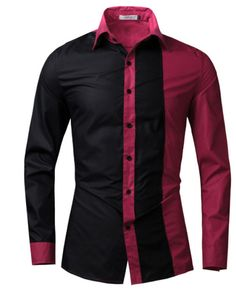 Men Casual Long Sleeve Shirt Slim Fit_Black and red shirt