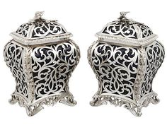 Sterling Silver and Glass Tea Caddies - Antique Victorian (1845) #SterlingSilverStorage