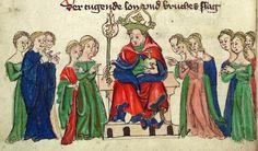 Heinrich <von Mügeln>   Der Meide Kranz — Bayern, 1407 Cod. Pal. germ. 14 Folio 2v