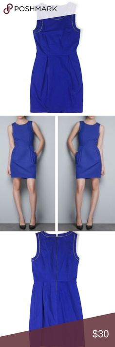 """Zara Blue Mini Dress with Chain Detail Size Small Size: S Design: Sheath Dress with Pockets and Chain Details Neckline: Scoop Sleeves: Sleeveless Materials: 97% Cotton; 3% Elastane     Measurements (approximate) Length: 33"""" Underarm to underarm (laying flat):  15"""" Waist (laying flat): 13""""  Condition: EUC   Note: This item is cross-listed on another platform. We do our best to update our listings as soon as an item is sold. In the case that this item is no longer available at the time of…"""