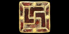 "5th-6th century AD. A square plate brooch with cloisonné garnet design of a central swastika and segmented border with roundel to the centre of each side; pin-lug and catchplate to the reverse. See the cloisonné techniques in Arrhenius, B. Merovingian Garnet Jewellery, Stockholm, 1985. 6.49 grams, 16 mm (3/4"")."