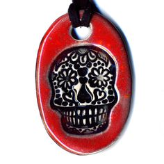 Day of the Dead Skull Ceramic Necklace in Red by surly on Etsy, $18.00