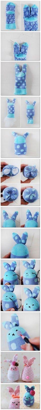 Step by step tutorial Instruction on How to Make Socks Bunny DIY | Fun Hug