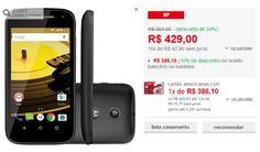 """Smartphone Motorola Moto E 2ª Geração Dual Chip Android 5.0 Tela 4.5"""" 8GB Wi-Fi Câmera de 5MP << R$ 38610 >>"""