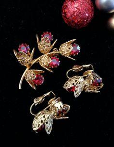 Vintage Brooch and Earring Set  Sweet by Vintageimagine on Etsy, $35.00