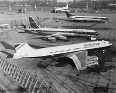 British Airways classics at London-Heathrow, circa 1974. Boeing 707-336B G-AXXY, Boeing 707-436 G-ARRB, a Vickers Super VC10-1151 and a Boeing 747-136 at the back. The 707-436 and VC10-1151 are still wearing BOAC colours, but with British Airways titles, indicating that this picture was taken only a short time after the commencement of BA in April, 1974. (Photo: aceebee)