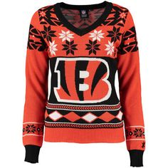 Cincinnati Bengals Klew Women's Big Logo V-Neck Ugly Sweater - Orange/Black