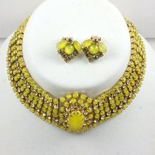 Gorgeous choker necklace & ear clips creamy opaque light green & Citrine stones from Melodies Memories on Ruby Lane