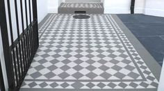 London Mosaic - Grey and White Chequerboard Tiles Hall Tiles, Tiled Hallway, Hallway Flooring, Porch Flooring, House With Porch, House Front, Front Door Steps, Front Path, Victorian Front Doors