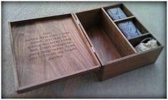 Custom Engraved Whiskey Box Set w 2 Engraved Glasses and Whiskey Stones Liquor Box Set Scotch Gift Set Whiskey Gift Set, gifts for him Wood Gift Box, Wood Gifts, Wooden Wine Boxes, Wood Boxes, Whiskey Gift Set, Whiskey Bottle, Wood Shop Projects, Bottle Display, Bottle Box
