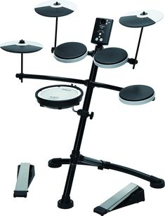Roland V-Drums Electronic Drum Kit - With its easy playability, Coach function and 15 onboard sounds, this is the perfect e-drum kit for beginners or those making the switch to electronic kits. Electronic Kits, E Drum Set, Roland V Drums, Electric Drum Set, Acoustic Drum, Music Software, Drum Heads, Drum Lessons, Drum