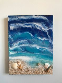 Resin wall art, ocean art, coastal living, home decor by BeachPuddles on EtsyArtist Antuanelle creates epoxy resin art that's inspired by the untouched beauty of the ocean.Learn to draw, craft and paint with your easy video Catch a wave with this wil Resin Wall Art, Epoxy Resin Art, Seashell Art, Seashell Crafts, Sea Art, Glass Art, Art Projects, Canvas Art, Coastal Living