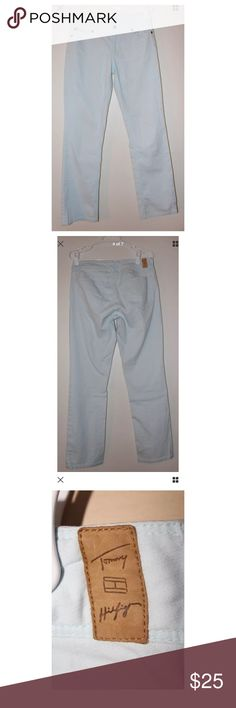 Tommy Hilfiger Light Sky Blue Jeans Size 6 ***All Best Reasonable Offers Accepted!*** Details: Look stylish and keep warm this fall in these light blue/sky blue pants from Tommy Hilfiger!Materials and Care Instructions:99% Cotton1% SpandexMachine was coldMeasurementsWaist:30Inches (Across the top of the pants doubled)Length:40Inches (Top of pants to bottom of leg) Inseam:30Inches (Crotch to end of leg)Cuff:7.5Inches (Across bottom of leg) Tommy Hilfiger Pants Boot Cut…