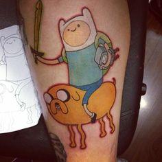 Finn the Human and Jake the Dog (Adventure Time) Time Tattoos, All Tattoos, Tatoos, Nerdy Tattoos, Incredible Tattoos, Beautiful Tattoos, Awesome Tattoos, Alien Tattoo, I Tattoo