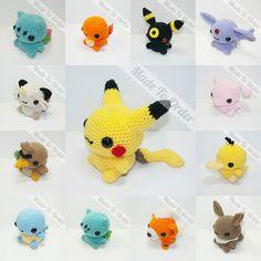You can't not love little crochet Pokemon. Kawaii Crochet, Kawaii Diy, Cute Crochet, Pokemon Crochet Pattern, Crochet Toys Patterns, Amigurumi Patterns, Yarn Projects, Crochet Projects, Pokemon Craft