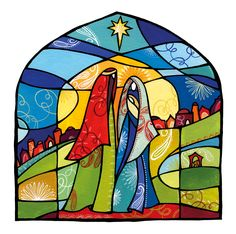 Nativity in stained glass Christmas Tree Festival, Christmas Yard Art, Christmas Wall Hangings, Stained Glass Christmas, Felt Christmas Decorations, Christmas Nativity, Christian Artwork, Christmas Paintings, Stained Glass Patterns