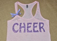 CHEER. Cheerleading Shirt. Bow. Tank top. Racerback. Size S-2XL. Burnout. Black. Exercise. Soft. Women. Workout. Fitness. on Etsy, $21.00
