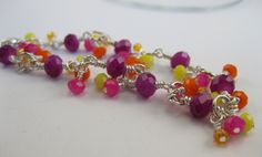 Faceted Carnival colors Chinese crystal rondelles silver finish bracelet - pinned by pin4etsy.com