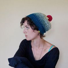 Ombre Gradient Knit Wool Slouchy Hat  Ocean Blue by SourpussKnits