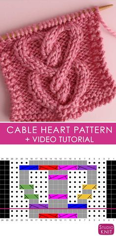 This Cable Heart Stitch Pattern comes with written instructions, chart, and video tutorial by Studio Knit. Make a cable knit scarf or blanket. Knitting Stiches, Cable Knitting, Circular Knitting Needles, Knitting Charts, Knitting Patterns Free, Free Knitting, Stitch Patterns, Knitting Tutorials, Knit Stitches